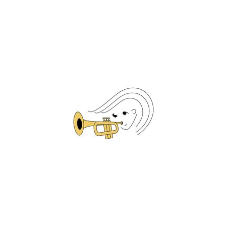 Trumpeter fictional character isolated on a white background.
