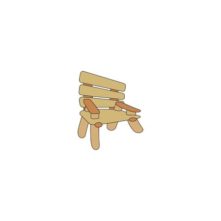Wooden chair vector illustration isolated on a white background.