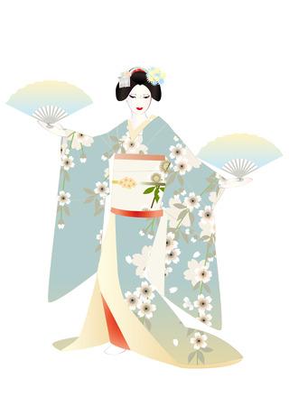 kanzashi: Maiko hands with a fan, light-blue kimono Stock Photo