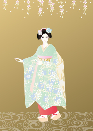 maiko: Maiko golden background Stock Photo