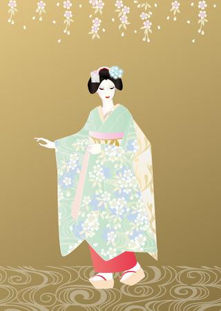 kanzashi: Maiko golden background Stock Photo