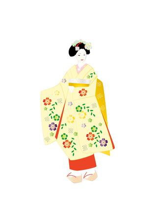 kanzashi: Maiko, yellow kimono