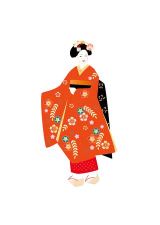 kanzashi: Red kimono, maiko