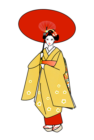 maiko: Maiko refers to the Red umbrella Stock Photo