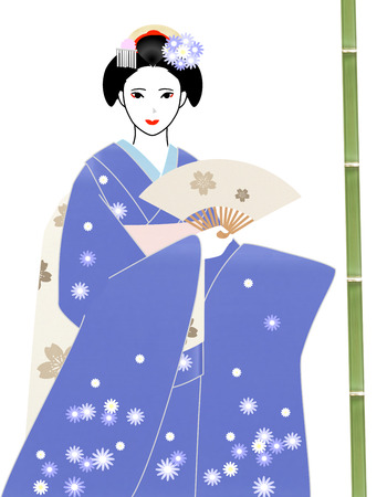maiko: Maiko holds a white fan Stock Photo