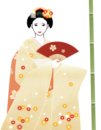 maiko: Maiko holds a red fan