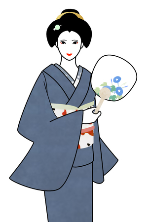 coiffure: A woman wearing kimono with a round fan, Japanese coiffure