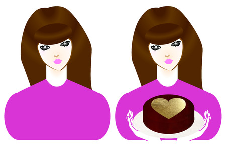body image: Upper body image of the brown hair girl and chocolate Stock Photo
