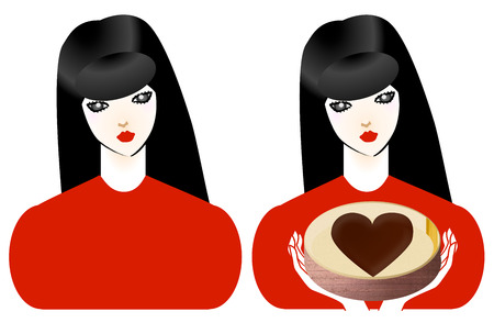 body image: Upper body image of the brunet girl and chocolate Stock Photo