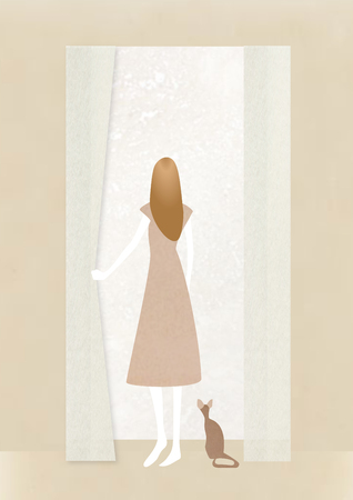 window treatments: A woman looking out from the window  with cat