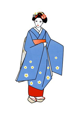 maiko: Maiko wearing her blue kimono Stock Photo