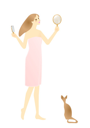 combing hair: Young woman combing hair and cat Stock Photo