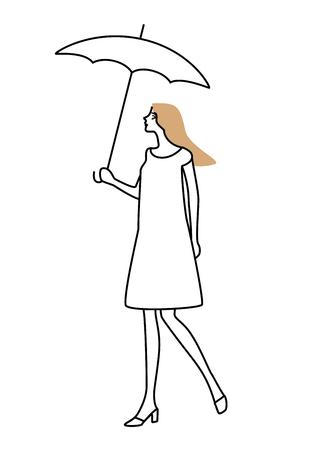put on: Women put up an umbrella