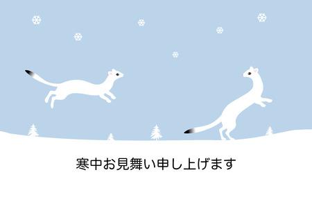 gronostaj: The two stoats, winter greeting card Zdjęcie Seryjne