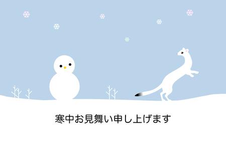 gronostaj: Winter greeting card, snowman and ermine Zdjęcie Seryjne