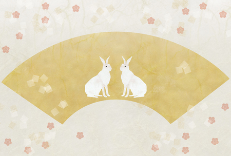 paper textures: 2 white rabbit, gold sector, paper textures Stock Photo