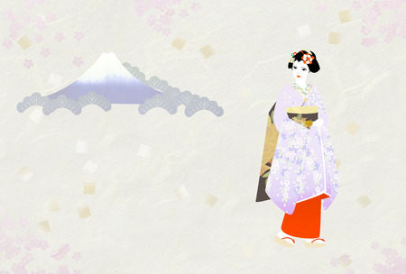 maiko: The texture of the paper, Mount Fuji, maiko