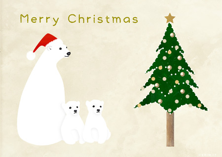 osos navide�os: Los �rboles de Navidad de la familia y los osos polares