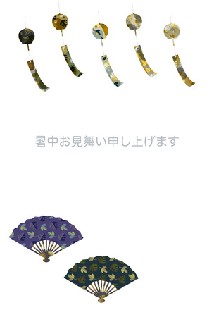 chimes: Summer greeting cards, wind chimes and fan