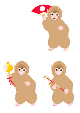 lucky charm: Baby monkey with a lucky charm set