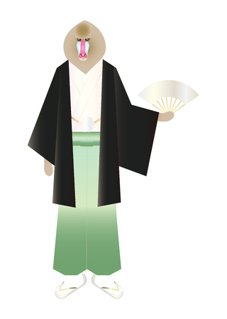 personification: Haori coat hakama mandrill