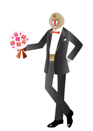 mandrill: Mandrill in tuxedos with a bouquet