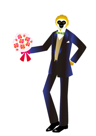 personification: Monkey wearing a tuxedo with a bouquet