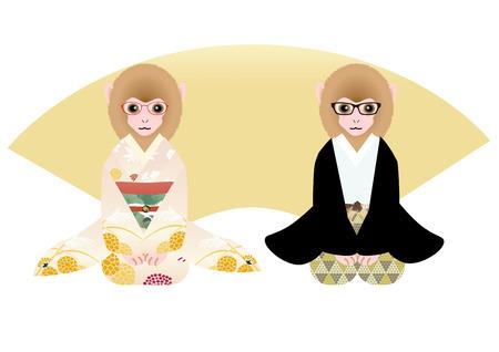 personification: Child monkey couple wearing kimono