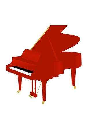Red grand piano Stock Photo