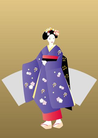 maiko: Maiko in purple kimono and gold background