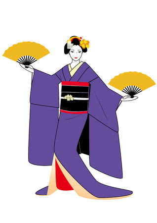 maiko: Maiko in purple kimono with fans in hands