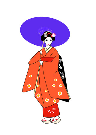 maiko: Maiko in orange kimono put up an umbrella