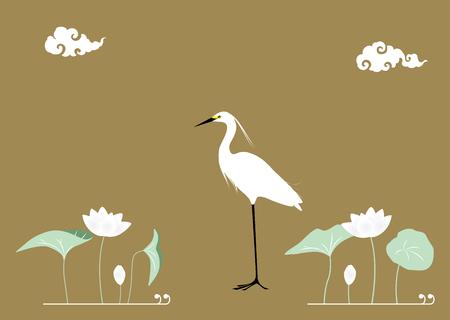 egret: Egrets and Lotus Flower