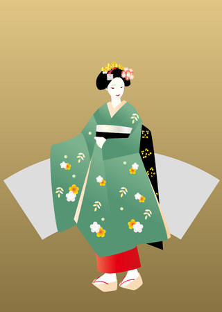 maiko: Maiko in green kimono, gold background