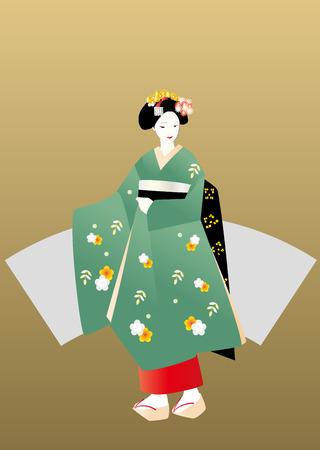 maiko: Maiko in green kimono, gold background