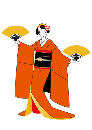 maiko: Maiko in orange kimono with fans in hands