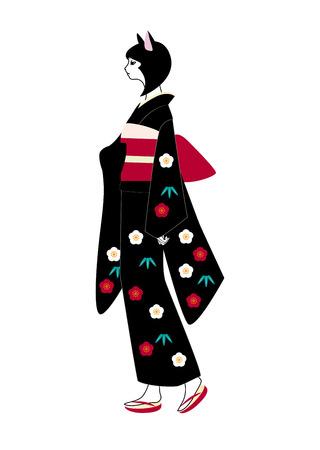 personification: The personification of the kimono cat Illustration