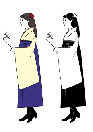 alumni: Young woman wearing a hakama with a Lily in hand