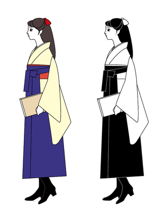 alumni: Young woman wearing a hakama with a book in hand Illustration