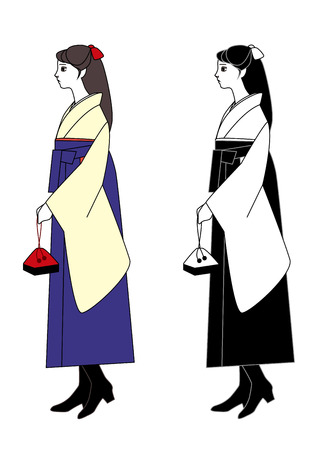 alumni: Young woman wearing a hakama with a bag in hand