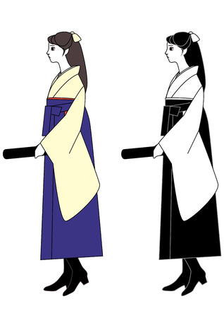 alumni: Young Woman wearing a hakama with diploma in hand
