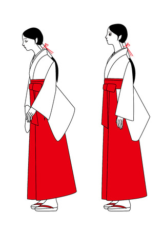 shinto: A shrine maiden standing bow