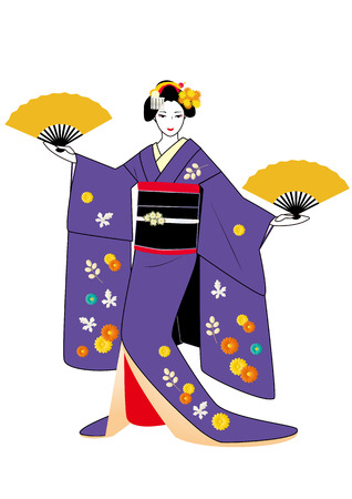 maiko: Maiko posing with fans in hands in purple kimono Illustration