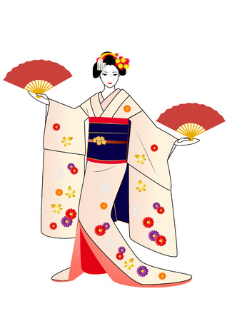 maiko: Maiko posing with fans in hands in pink kimono Illustration
