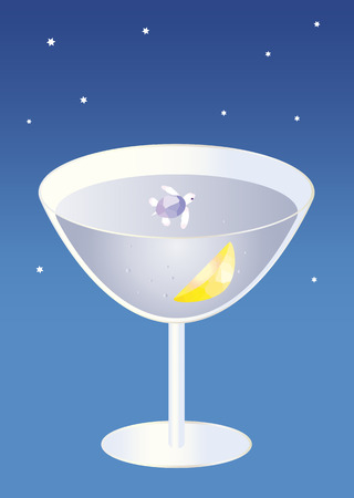 fanciful: Fanciful image, small turtle swimming in a cocktail glass under stars Illustration