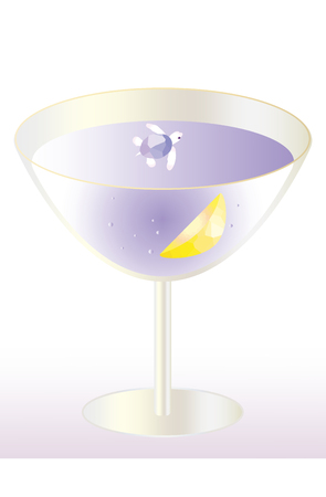 fanciful: Fanciful image, small turtle swimming in a cocktail glass