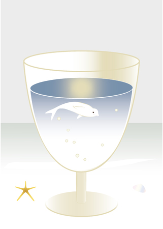 fanciful: Fanciful image, Beluga whale swimming in a cocktail glass