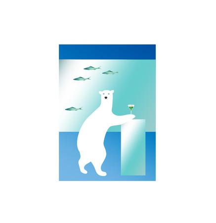 fanciful: Polar bear enjoying cocktail like a human