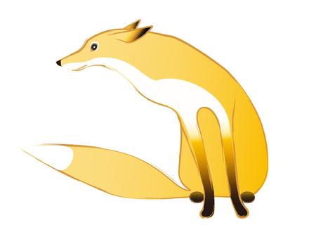 in profile: Cute fox sitting profile Illustration