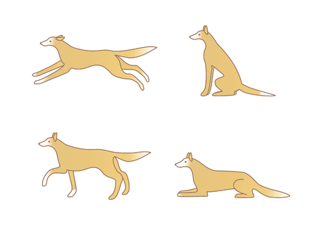 variations: Cute dog image, variations of movement